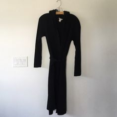 J. Crew hooded wool sweater jacket / coat 100% wool.  Black.  Retail, NOT factory.  Belted and hooded.  Pilling on forearms but can be defuzzed to make like new.  Other than that, great condition.  Worn only a few times.  Price reflects the above. J. Crew Jackets & Coats
