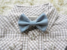 Baby Bow Ties - Baby Boy and Toddler - Denim Fabric Bow Tie. $7.00, via Etsy.
