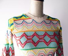 1970s Sweater // Colorful Cotton Zig Zag 1970s Novelty Sweater.. $34.00, via Etsy.