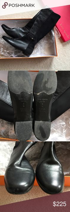 Kate Spade Olivia Boots size 8 Fits true to size, Kate Spade Olivia boots size 8 black. Fitted boots, comfy with bows on the side. Retails for $398 + tax, shows minor scruffs in the front and bottom of shoe. Worn once gently, will ship with original box kate spade Shoes Heeled Boots