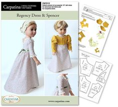 Regency Dress and Spencer Doll Clothes Pattern as von CARPATINA