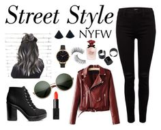 """""""Street Style"""" by cosmicdeep on Polyvore featuring Trish McEvoy, Replay, H&M, Hermès, NARS Cosmetics, Dolce&Gabbana, Olivia Burton, StreetStyle, NYFW and blackandred"""