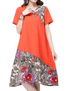 Sale 24% (18.54$) - Elegant Women Chinese Frog Printing Patchwork Cotton Linen Dress