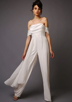 The Patti bandeau style jumpsuit wide leg trousers with layered panel from Virgos Lounge //  www.onefabday.com