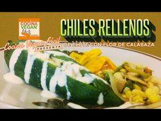 Chiles rellenos de elote con flor de calabaza -  Cocina Vegan Fácil
