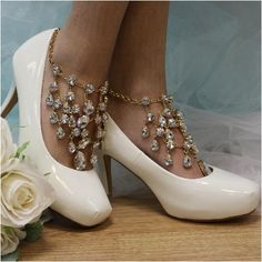 """CRYSTAL DREAMS barefoot sandals - gold    wedding, foot jewelry, beach wedding """"Pin this pretty for later!'"""
