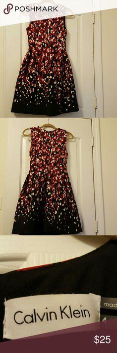 Calvin Klein Dress Black, white, and red Calvin Klein Dress worn once Calvin Klein Dresses