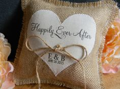 Yellow fower burlap personalized ivory ring bearer pillow  shabby chic with engraved heart  initials.. many more colors available