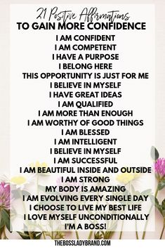21 Positive Affirmations to Gain more Confidence - Boss Lady Brand Affirmations For Anxiety, Morning Affirmations, Positive Affirmations, Feeling Stressed, How Are You Feeling, What Is Positive, Positive Mind, Positive Mantras, First Day Of Work