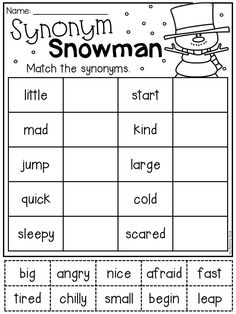 Winter synonym worksheet for first grade. Students match the synonyms to each other by cutting and pasting the words. Synonym Activities, Synonym Worksheet, Literacy Worksheets, English Grammar Worksheets, First Grade Worksheets, First Grade Activities, School Worksheets, English Vocabulary, Toddler Activities