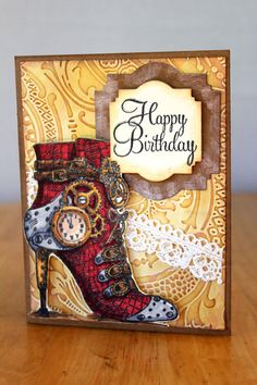 Happy Birthday Steampunk Card Red High Heel by MrsKristenCreations