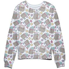 Pusheen The Cat Rainbows Unicorns and Mermaids Juniors Sweatshirt (280 SEK) ❤ liked on Polyvore featuring tops, hoodies, sweatshirts, cat top, unicorn top, cat print sweatshirt, rainbow sweatshirt and unicorn sweatshirt