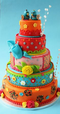 Absolutely love this cake! Reminds me of a cartoon princess cake with the birds and color Gorgeous Cakes, Pretty Cakes, Cute Cakes, Amazing Cakes, Crazy Cakes, Fancy Cakes, Unique Cakes, Creative Cakes, Super Torte