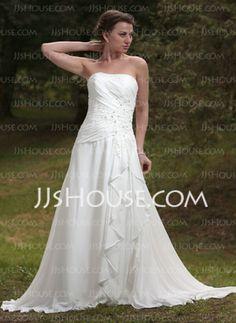 A-Line/Princess Sweetheart Chapel Train Chiffon Wedding Dress With Ruffle Lace Beadwork (002012058)