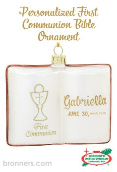 Personalized First Communion Bible Glass Book Form from Bronner's Christmas store of Christmas ornaments and Christmas lights Open Bible, Glass Book, Christmas Wonderland, Personalized Ornaments, Gold Cross, First Communion, Gold Paint, Flask, Special Occasion