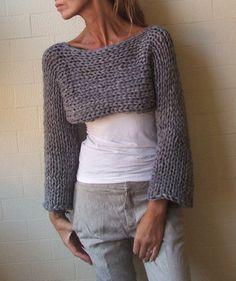 Stoney Isle Chunky bamboo mix shrug/cropped sweater by ileaiye,