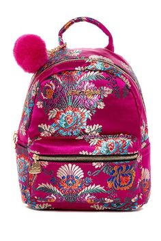 Image of Betsey Johnson Satin Chinoiserie Embroidered Mini Backpack