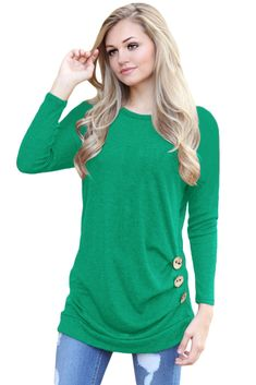 932d9224bcc New product alert  Green Buttoned Side Long Sleeve Spring Autumn Womens  Top! Save up. Victory Roze