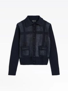 blouson joy bleu marine en cuir suède et crochet | agnès b. Suede Leather, Leather Jacket, Bleu Marine, Crochet, Navy Blue, Jackets, Collection, Joy, Women