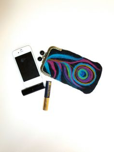 Cell phone case make up coin purse wet felted by sublimecolors, $49.99