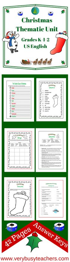 Bring Christmas Cheer into your classroom with this colorful Christmas Thematic Unit for Grades K-1-2. With 42 pages of worksheets and activities full of fun and learning. All answer keys are included. We wish everyone a safe and happy Christmas this year. http://www.teacherspayteachers.com/Product/Christmas-Thematic-Unit-Primary-for-Very-Busy-Teachers-314215