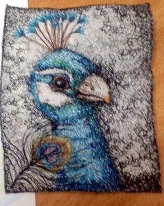Cheryl Bridgart's 'Peacock' 26x22cm free embroidery on cotton paper