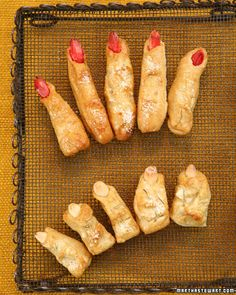 Ladies' Fingers and Men's Toes. I've made these for a Halloween party before, very yummy! All the Ladies fingers were snatched up, but no one would touch a Toe, very funny!
