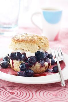 Blueberry Shortcakes - use yogurt & blueberries on the shortcakes for breakfast.  Yum.  That would make me excited about getting up.