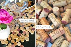 Create a clever centerpiece from corks and wow your peeps.  Courtesy of Crème de la Crème . http://www.cremedelacraft.com/2012/06/diy-cork-tile-placemat-from-wine-corks.html