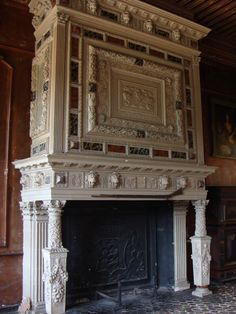 Fireplace in an old castle in France.... (Chateau de Sully, Bourgogne region.  Build end of the 14th century.  Most famous owner was Maximiliaan de Bethune (1599-1641), duke of Sully and minister of Henri IV from France.One of the biggest castles build in the Renaissance style of South Bourgogne. The countess of Magenta still lives in the castle with her children.)