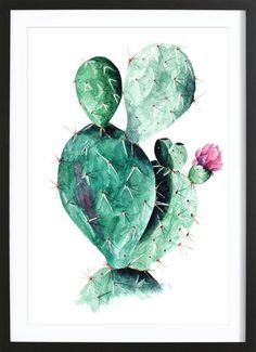 Cactus als Gerahmtes Poster von Annet Weelink Design | JUNIQE