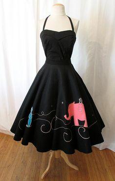 1950s Black Felt Circle Skirt..