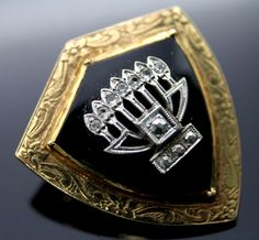 JUDAICA ANTIQUE BLACK ONYX GENUINE DIAMONDS MENORAH 14K GOLD BROOCH PENDANT PIN