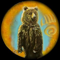 Bear Medicine Drum Painted Native American Style by EthanFoxx, $300.00