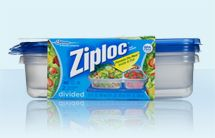 Ziploc® brand Containers with the Smart Snap® Seal Divided Rectangle - 32 ounces