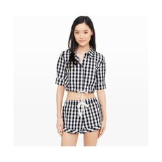 Club Monaco Solid & Striped Woven Crop ($119) ❤ liked on Polyvore featuring tops, multi, button-down shirt, button up collared shirts, white striped shirt, button down collar shirts and white top
