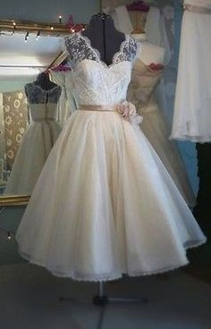 Vintage New Tea Length V Neck White/Ivory Lace Wedding Dress Custom All Size in Clothing, Shoes & Accessories | eBay