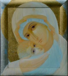 Icon: Our Lady of Tenderness -contemporary Religious Images, Religious Icons, Religious Art, Byzantine Icons, Byzantine Art, Madonna Art, Christian Artwork, Mama Mary, Religious Paintings
