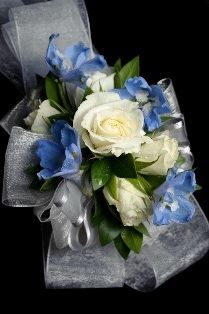Blue/Silver/White Wrist Corsage