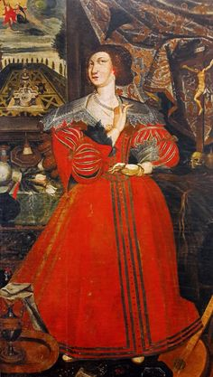 Portrait of Katarzyna Ligęza née Kretkowska by Anonymous from Poland, ca. 1654, Church of the Discalced Carmelites in Lublin. Katarzyna Ligęza, daughter of Łukasz Kretkowski and Barbara Drzewicka, is presented just at a time when she take a difficult decision. After the death of her husband in 1624 she entered the monastery of the Discalced Carmelite nuns in Kraków. #portrait #ligeza #kretkowska #poland #lublin #monastery #baroque #red #pearls #artinpl #drapery #garden Krakow, Drapery, Anonymous, Baroque, Poland, Aurora Sleeping Beauty, Death, Take That, Daughter