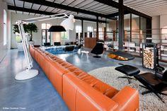 #cheminee gyrofocus foyer suspendu pivotant ouvert à bois #design contemporain