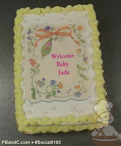 Social0192   Baby Shower Cake   Custom photo cake with light yellow trim.