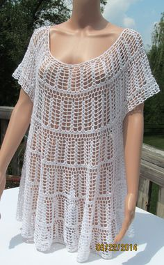 Crocheted Vintage top White Cotton  Loose Fitting by Renaixcrochet, $85.00