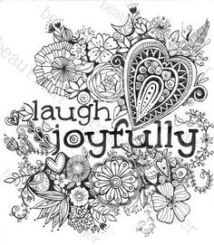 Laugh Joyfully 85 X 11 Instant Download Coloring Page