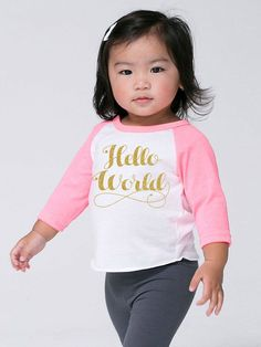 Baby Toddler Kids 'Hello World' Poly Cotton by SevenMilesPerSecond