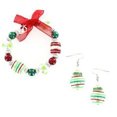 Christmas Ornament Holiday Hand Painted Glass Bead Bracelet & Earring Set