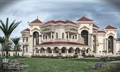 We designed the palace for Mr. Saadoun in Iraq, we tried to add different blocks and multiple movements to give prestige and dignity to the palace, we hope you like our work Best wishes to all Modern Exterior House Designs, Dream House Exterior, Exterior Design, New House Plans, Dream House Plans, Modern House Plans, Classic House Design, Dream Home Design, Villa Design