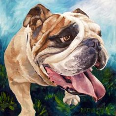 Sparticus the Champion English Bulldog custom dog portrait painting from www.bffpetpaintings.com