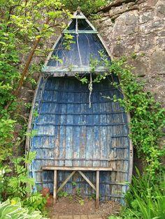 siège de bateau vieux jardin sur le toit