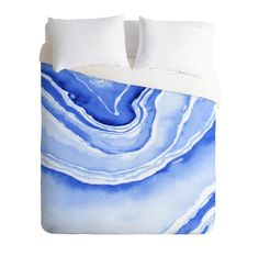 Blue Lace Agate Duvet Cover in a soothing watercolor design. Add a pop of blue indigo color to your bedroom decor. Available in Twin/Queen/King